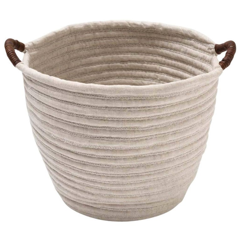 Linen Woven Basket In Natural With Leather Handles Custom