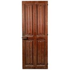 Linenfold 4 Panel Pitch Pine Interior Door, 20th Century