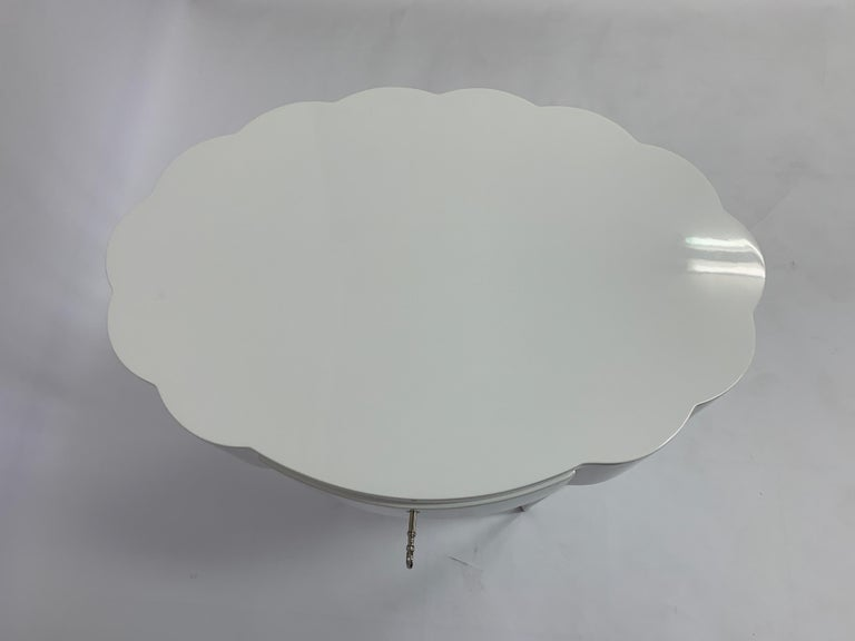Modern Linenfold Carved Oval White Lacquer Side Table, in Stock For Sale