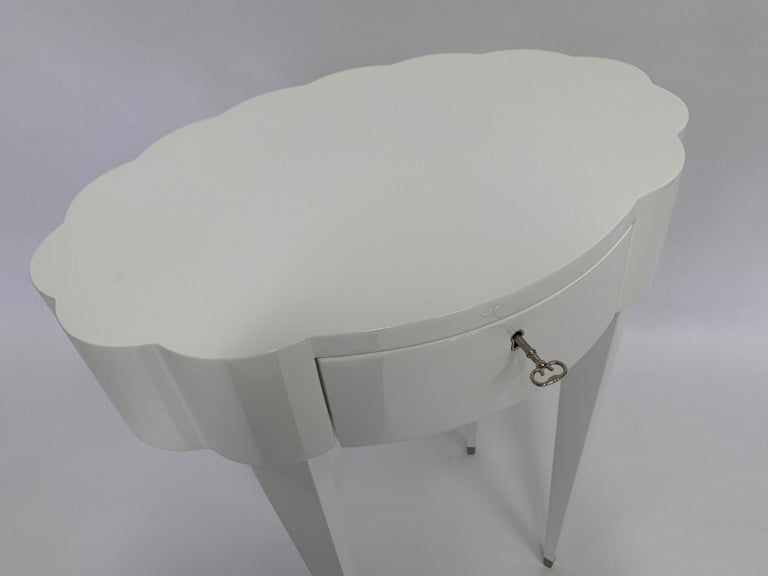 American Linenfold Carved Oval White Lacquer Side Table, in Stock For Sale