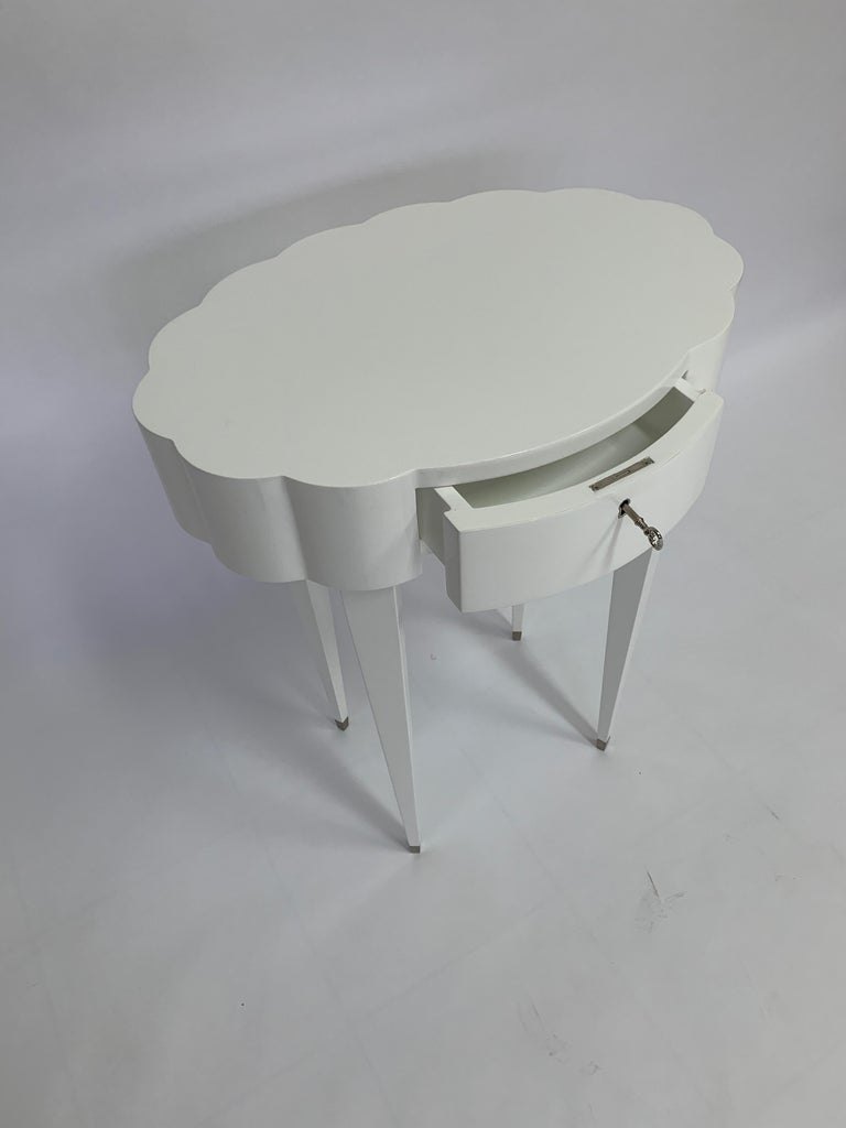 Linenfold Carved Oval White Lacquer Side Table, in Stock In New Condition For Sale In Las Vegas, NV