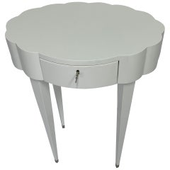 Linenfold Carved Oval White Lacquer Side Table, in Stock