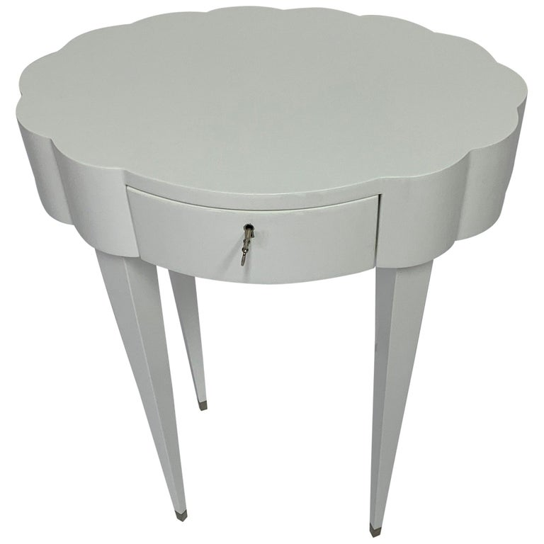 Linenfold Carved Oval White Lacquer Side Table, in Stock For Sale