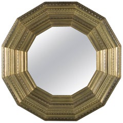 Linenfold Hollywood Regency Stylized Sunburst Deep Wall Mirror, 20th Century