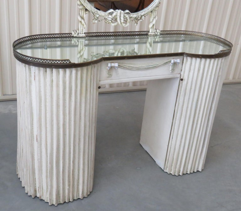 Mid-Century Modern Linenfold Style Vanity with Mirror attr Grosfeld House For Sale