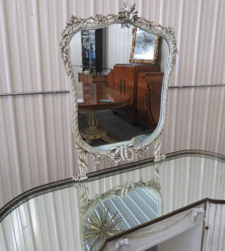 20th Century Linenfold Style Vanity with Mirror attr Grosfeld House For Sale