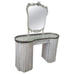 Painted Linenfold Style Ladies Makeup Vanity with Mirror attr Grosfeld House
