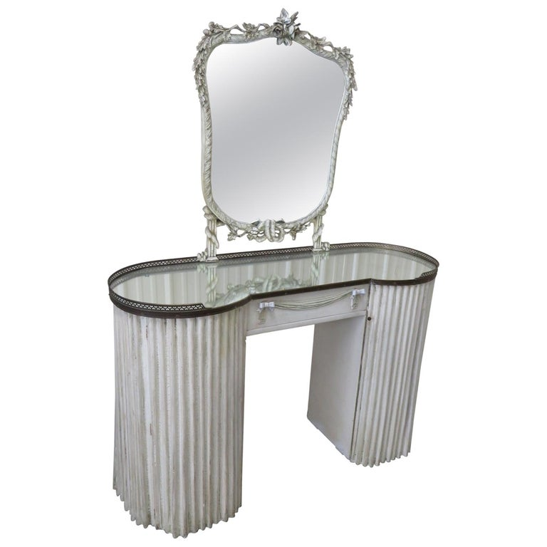 Linenfold Style Vanity with Mirror attr Grosfeld House For Sale