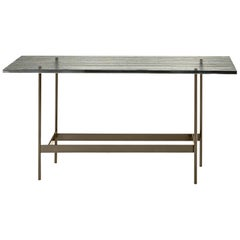 Lines Glass Top Console Table with Striped Glass Top