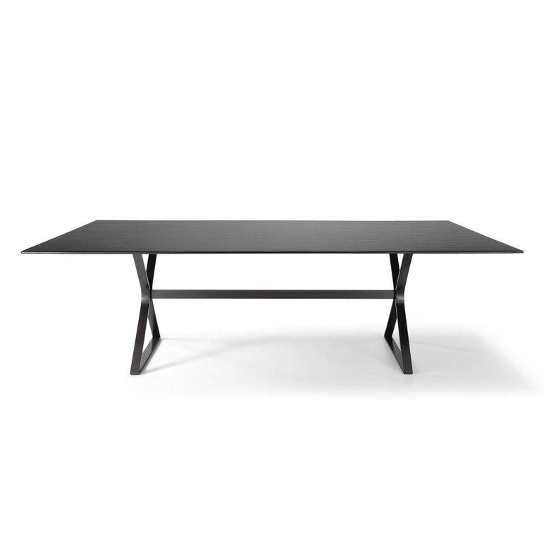 Dining table lines top with metal shades dark grey tinted 