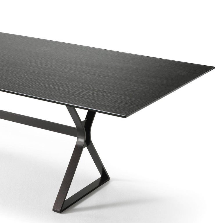 Italian Lines Top Dining Table with Metal Tinted Top For Sale