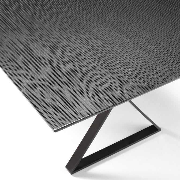Blackened Lines Top Dining Table with Metal Tinted Top For Sale