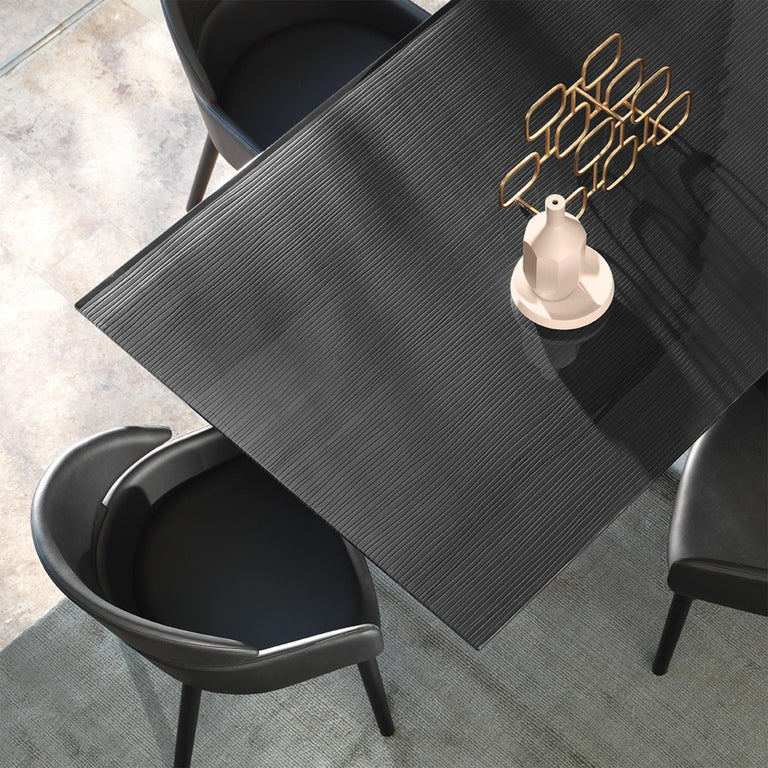 Lines Top Dining Table with Metal Tinted Top In New Condition For Sale In Paris, FR