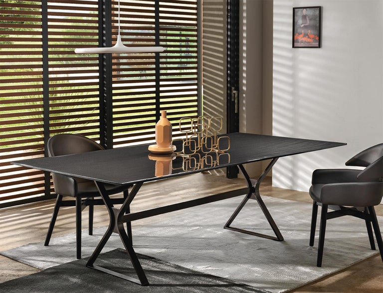 Contemporary Lines Top Dining Table with Metal Tinted Top For Sale
