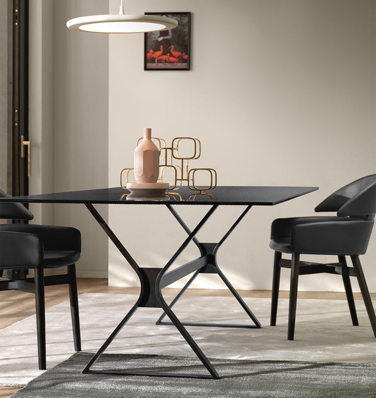 Lines Top Dining Table with Metal Tinted Top For Sale 1