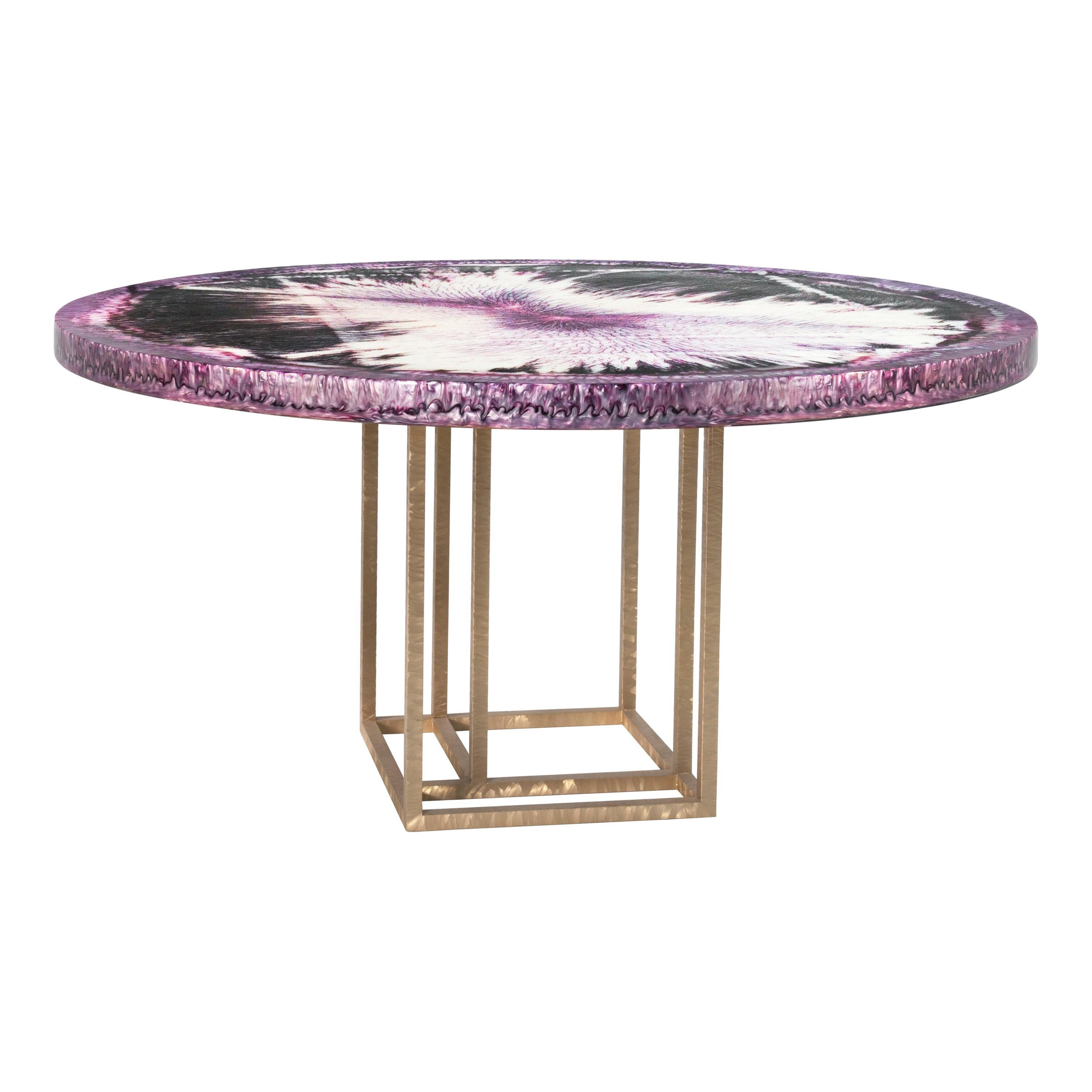 Contemporary Table by Hessentia with Artistic Resin top and Brass Base, Violet