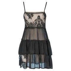 Lingerie dress in black lace and silk chiffon TWIN-SET Simona Barbieri