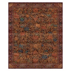 Lingering Garden Chestnut - Floral Traditional Hand Knotted Wool Silk Rug