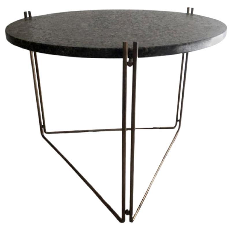 Linha Side Table Black Granite Top by Filipe Ramos