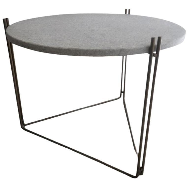 Linha Side Table White Granite Top by Filipe Ramos