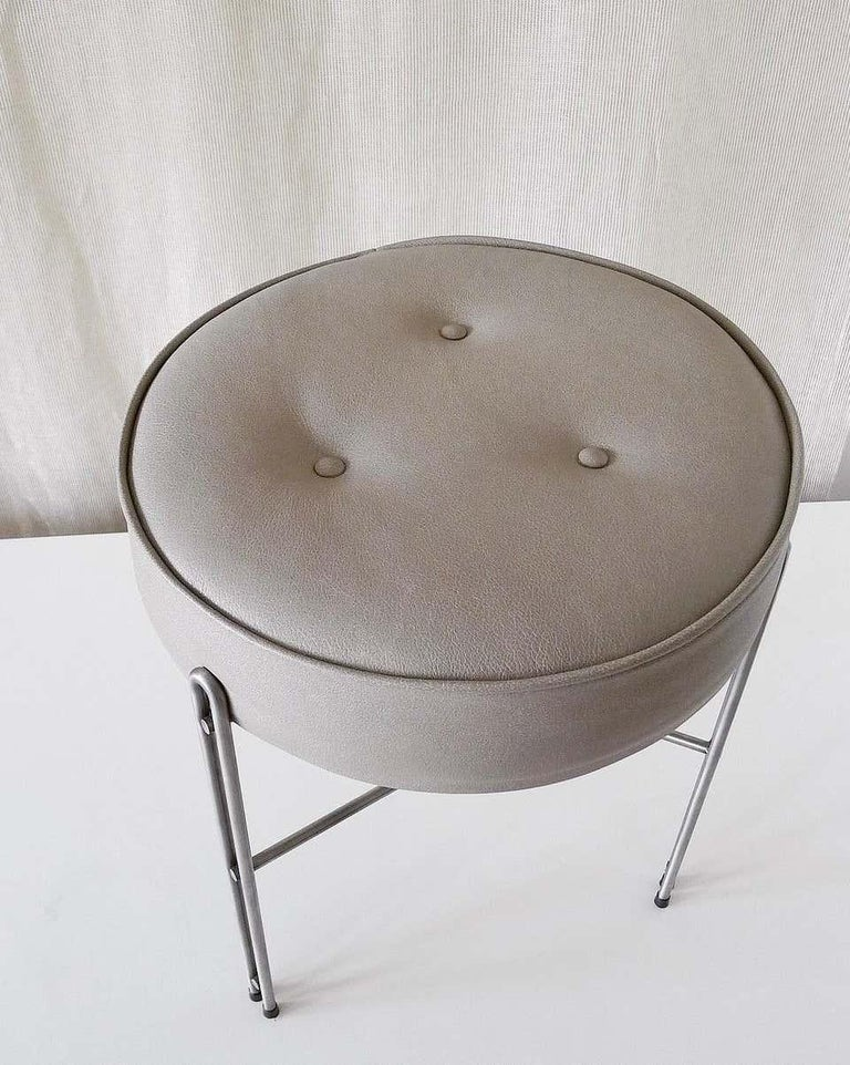 Brazilian Linha Upholstered Stool in Leather For Sale