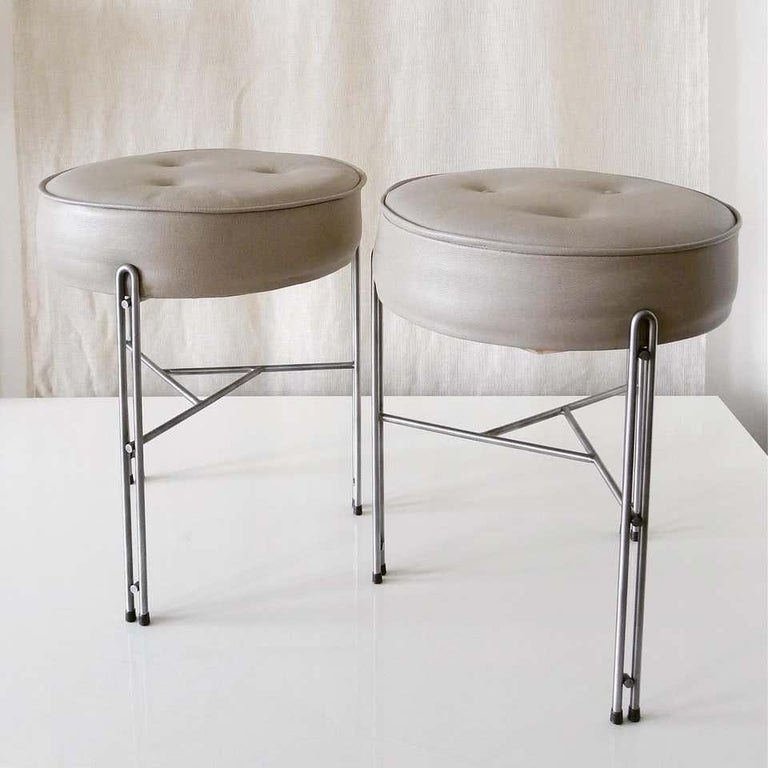 Oiled Linha Upholstered Stool in Leather For Sale