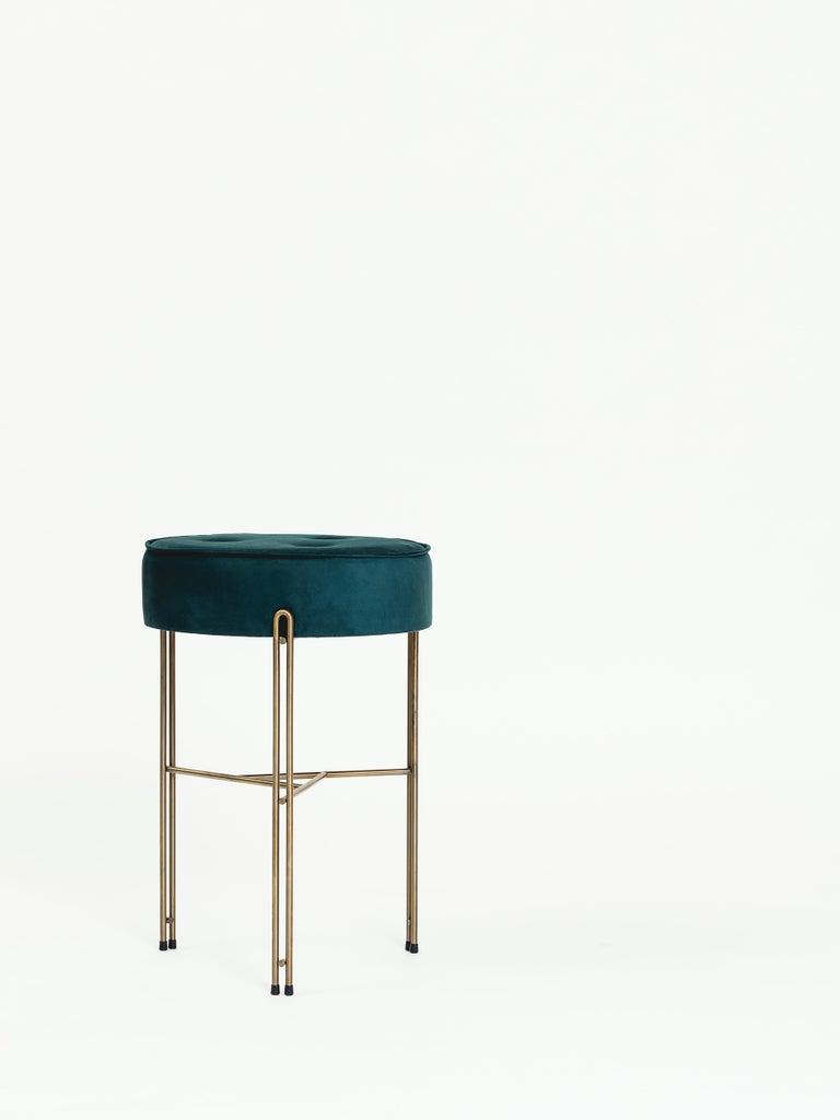 Modern Linha Upholstered Stool by Filipe Ramos For Sale