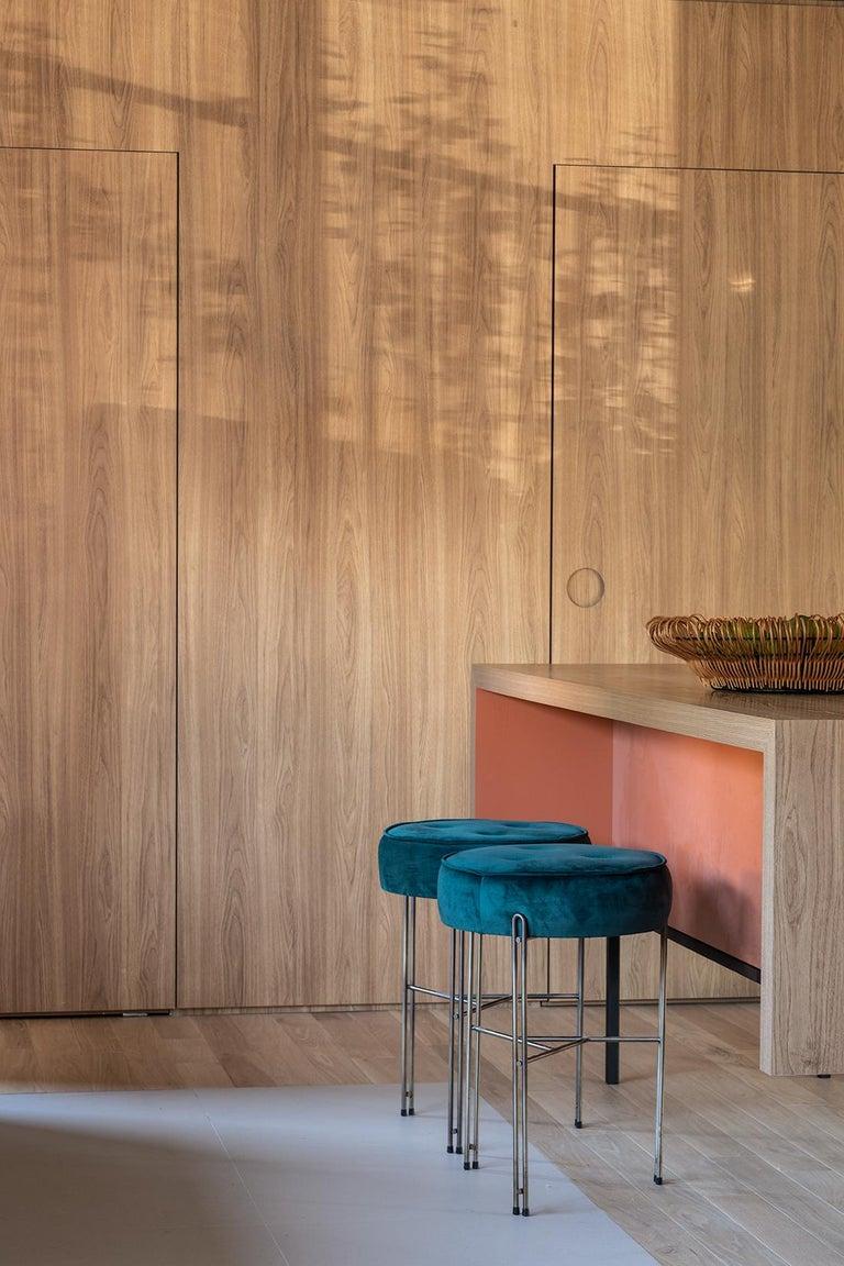 Brazilian Linha Upholstered Stool by Filipe Ramos For Sale