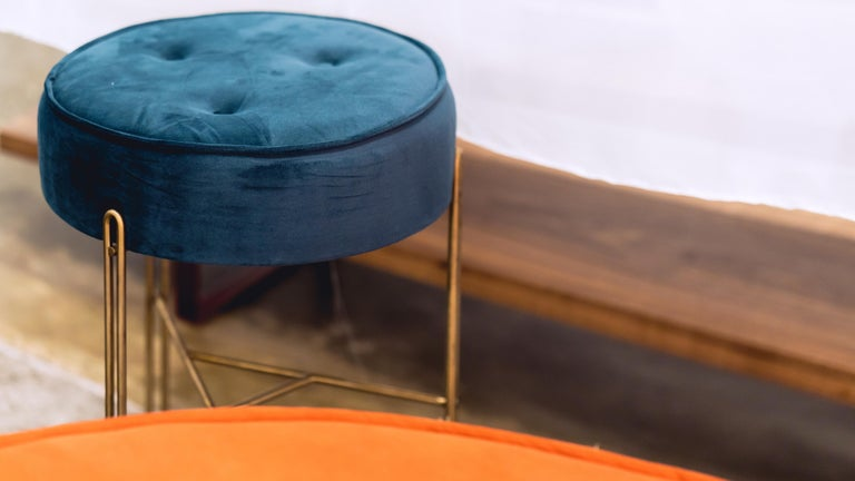 Linha Upholstered Stool by Filipe Ramos In New Condition For Sale In Sao Paulo, Sao Paulo