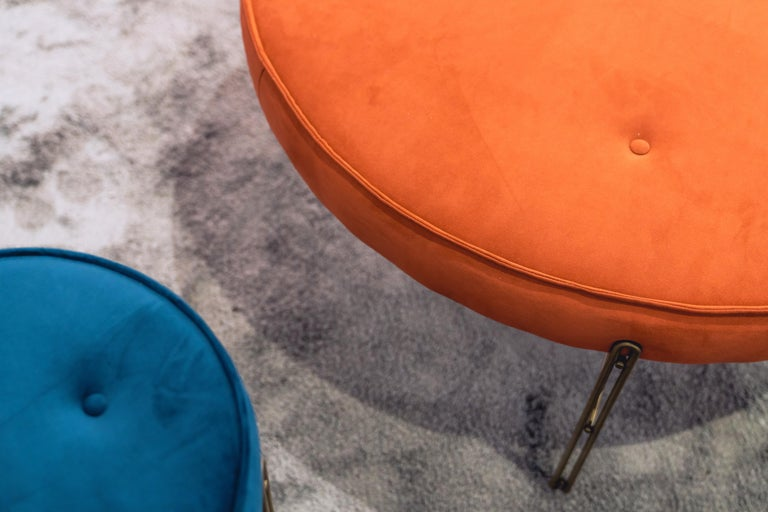 Linen Linha Upholstered Stool by Filipe Ramos For Sale
