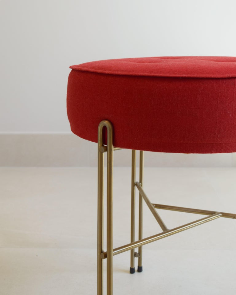 Contemporary Linha Upholstered Stool by Filipe Ramos For Sale