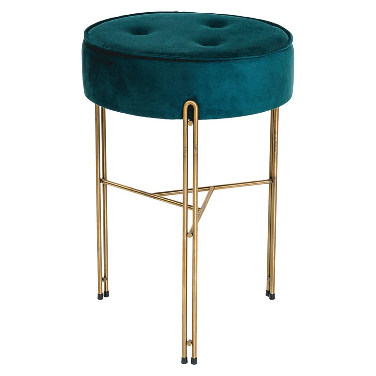 Linha Upholstered Stool by Filipe Ramos For Sale