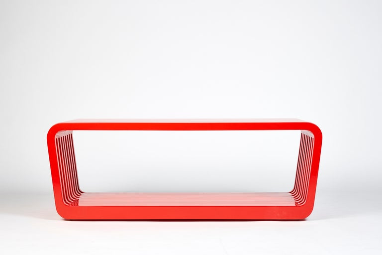 Modern Bench or Coffee Table, LINK by Reda Amalou , 2016 - Red or White Lacquer, Walnut For Sale