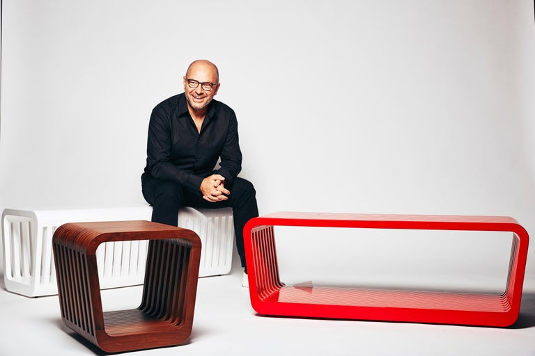 Contemporary Bench or Coffee Table, LINK by Reda Amalou , 2016 - Red or White Lacquer, Walnut For Sale