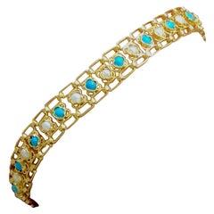 Link Bracelet, Turquoises, Pearls, 18 Karat Yellow Gold