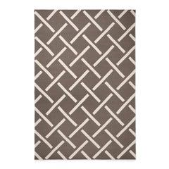 Link Brown, Modern Dhurrie/Kilim Rug in Scandinavian Design