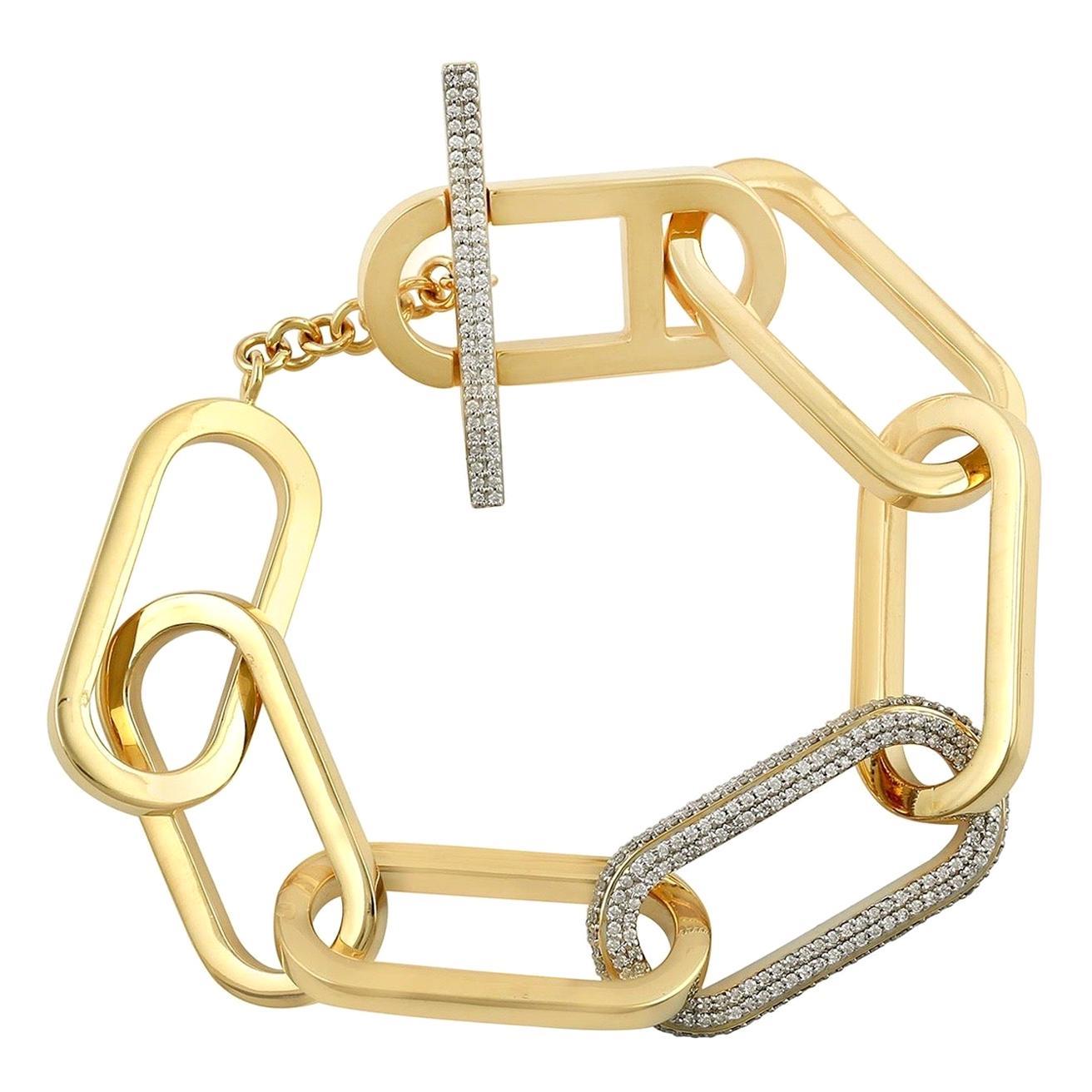 Link Chain Diamond 18 Karat Gold Bracelet