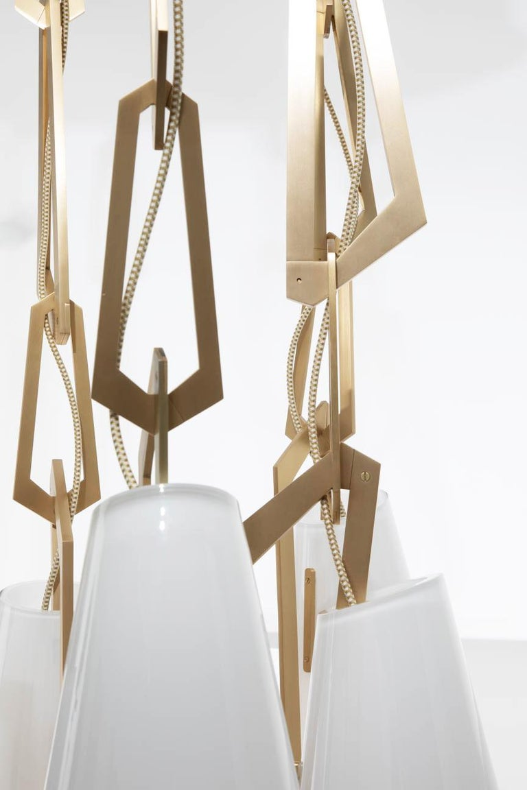Modern Link Chandelier by Avram Rusu Studio in Brushed Brass with White Shades For Sale