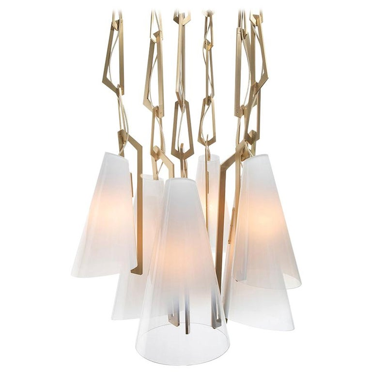 Link Chandelier by Avram Rusu Studio in Brushed Brass with White Shades For Sale