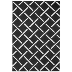 Link Charcoal, Modern Dhurrie or Kilim Rug in Scandinavian Design