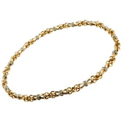 Link Necklace with Diamonds in 18 Karat Yellow Gold
