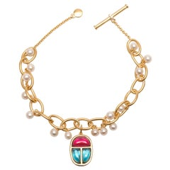 Links Bracelet Vermeil Gold with Scarab Amulet Charm and Pearls