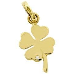 Links of London 18 Karat Yellow Gold Four-Leaf Clover Diamond Pendant Charm