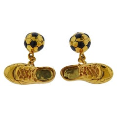 Links of London Gold Soccer Ball Sneakers Cufflinks