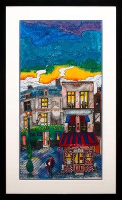 """Montmartre Cafés"" Original Pop Art Ink Painting on Silk by Linnea Pergola"