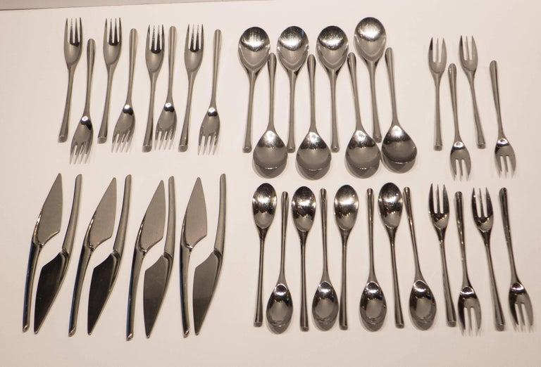Boldly curvilinear Lino Sabattinii 18/10 stainless steel flatware,