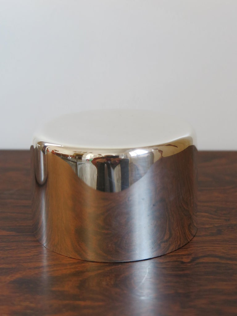 Mid-Century Modern Lino Sabattini Made in Italy Decorative Box in Silver Metal, 1960s For Sale