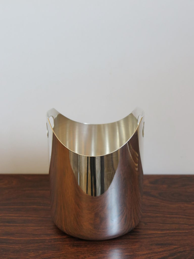 Lino Sabattini Made in Italy Ice Bucket in Silver Metal, 1960s For Sale 1