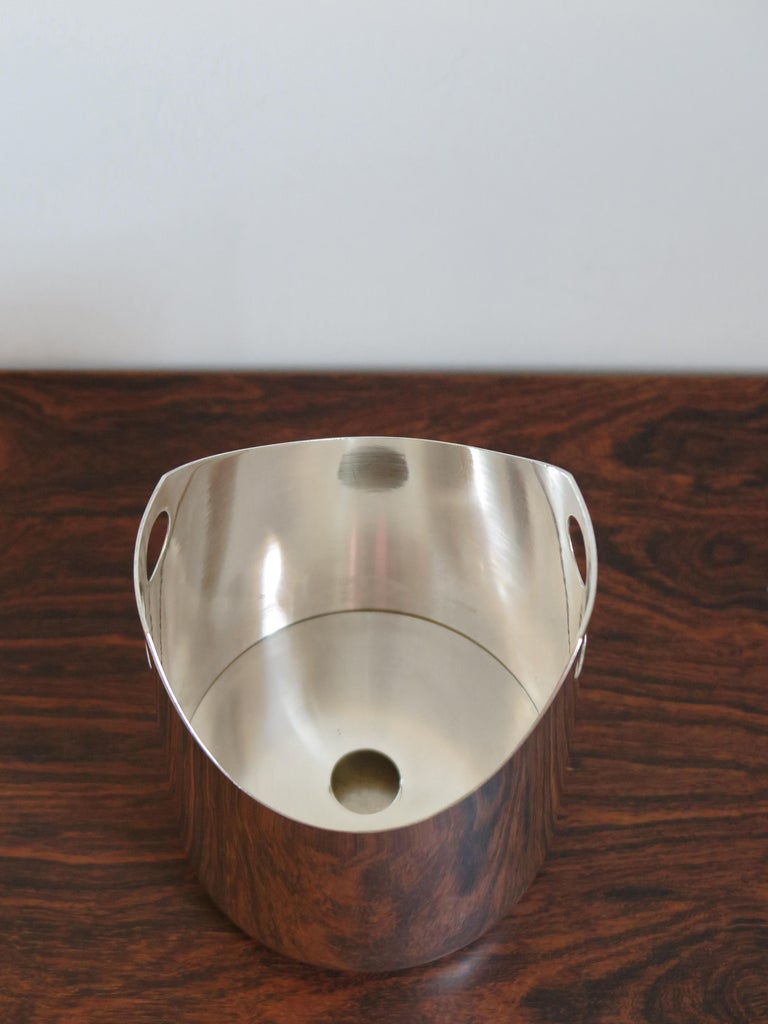 Lino Sabattini Made in Italy Ice Bucket in Silver Metal, 1960s For Sale 2