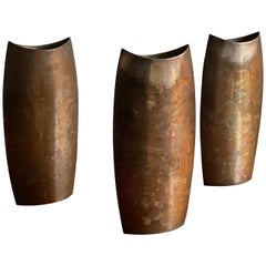 Lino Sabattini Three Rare Sizable Modernist Vases, Silvered Metal, Italy 1950s